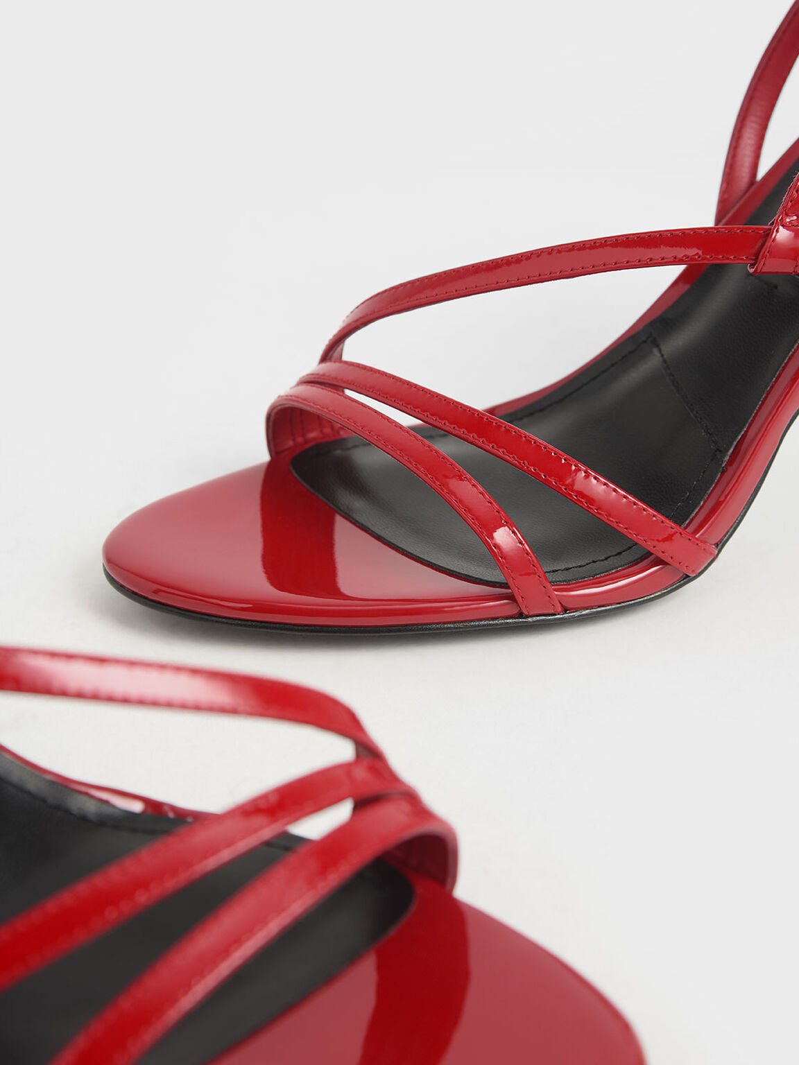 Patent Leather Strappy Heeled Sandals, Red, hi-res