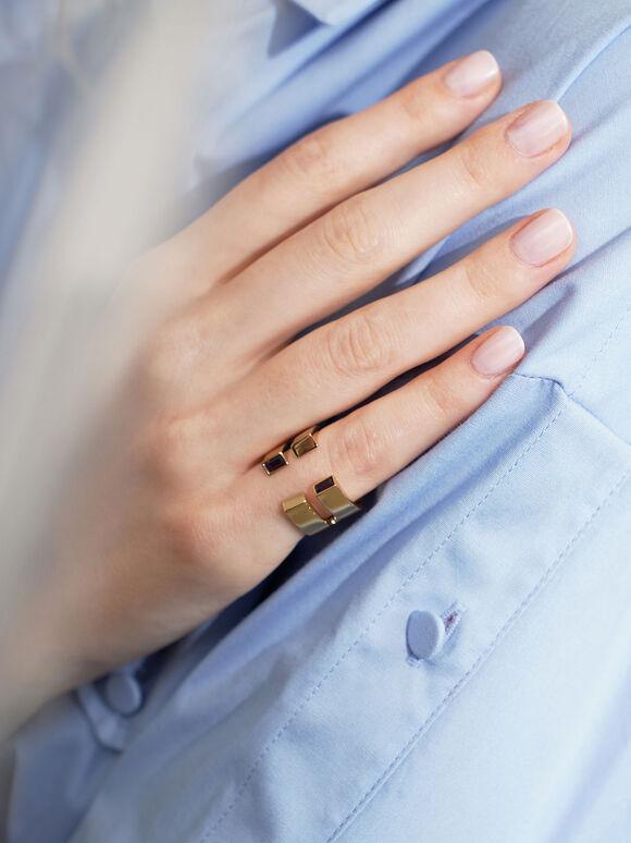 施華洛世奇®C字雙環戒, 金色, hi-res
