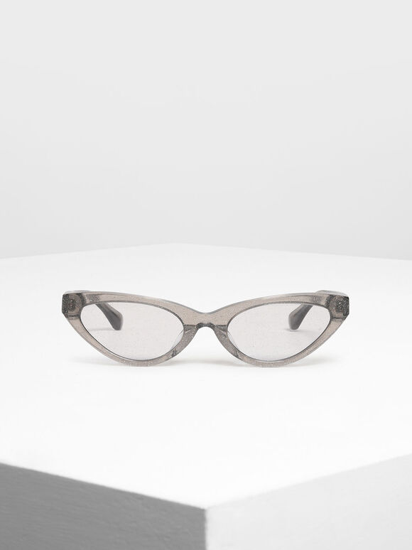 Acetate Oval Frame Sunglasses, Grey, hi-res