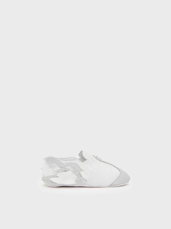 Kids Swan Detail Flats, White, hi-res