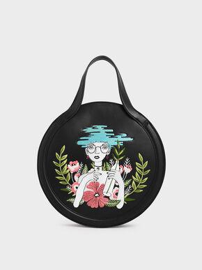 CHARLES & KEITH By Teeteeheehee: Embroidered Round Tote Bag, Black, hi-res