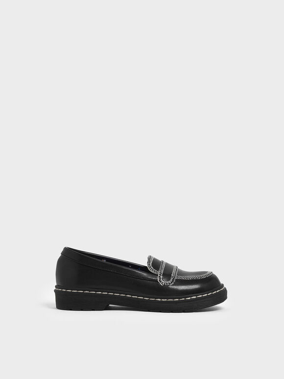 Girls' Overlock Stitch Loafers, Black, hi-res
