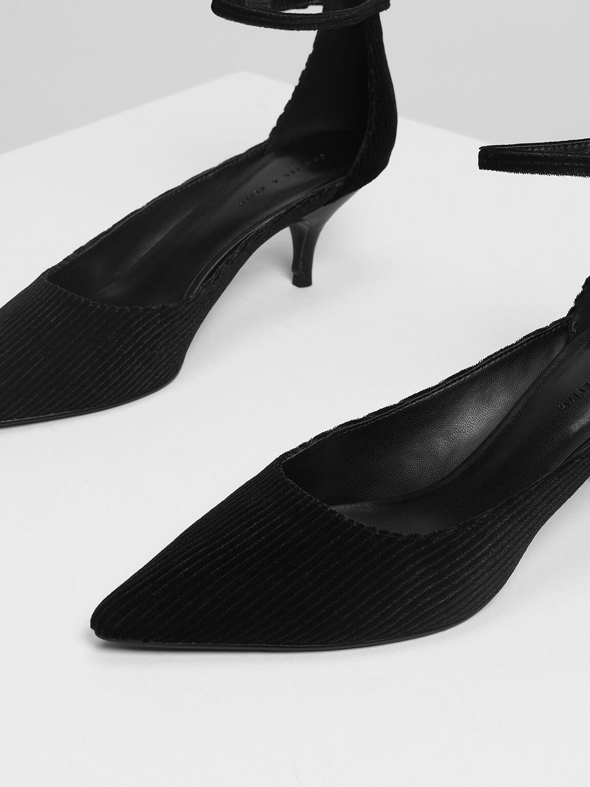 Textured Pointed Ankle Strap Heels, Black Textured, hi-res