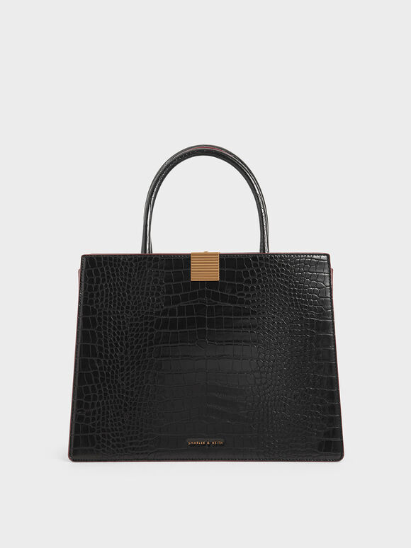 Croc-Effect Double Handle Handbag, Black, hi-res