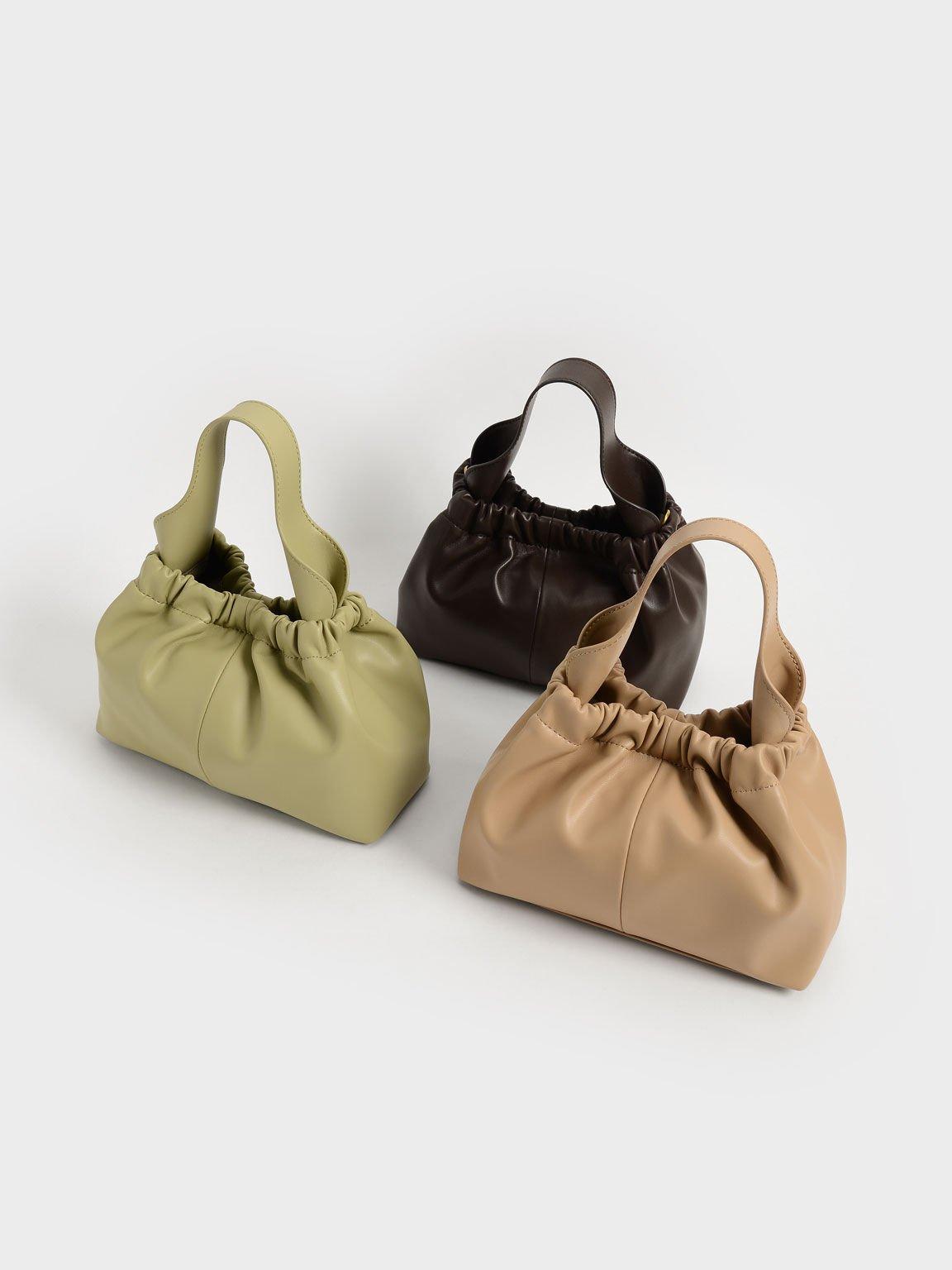 Pleated Hobo Bag, Beige, hi-res