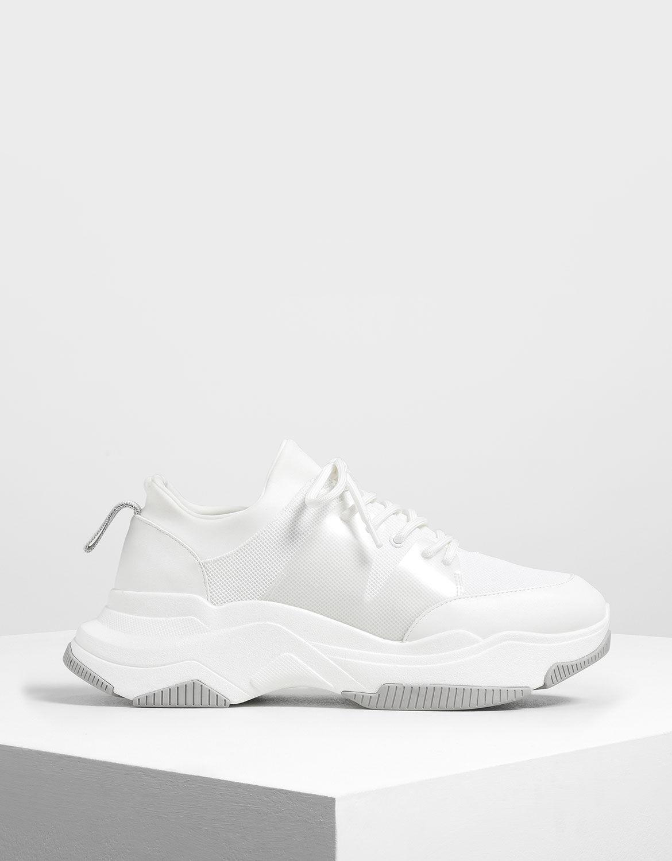 White Chunky Mesh Sneakers   CHARLES