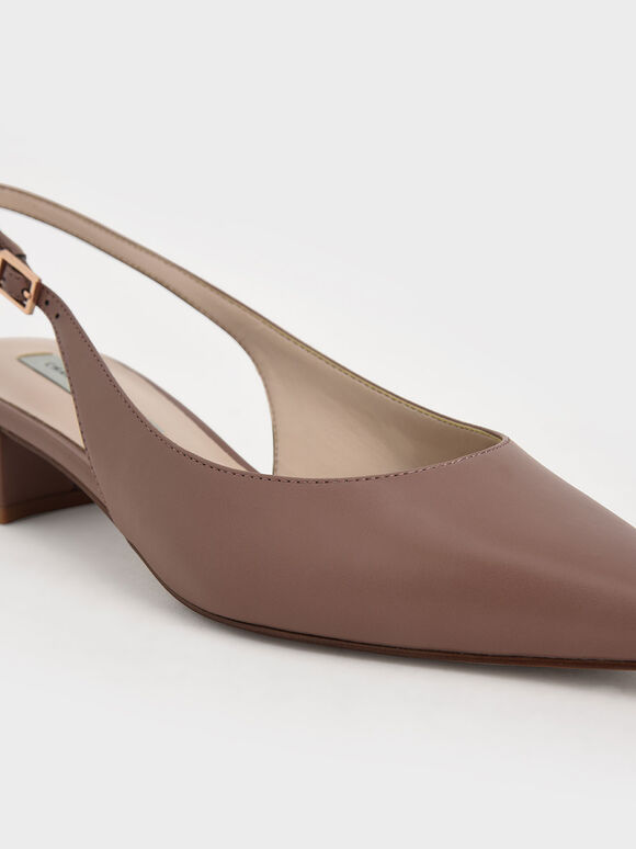 Pointed Toe Slingback Pumps, Mauve, hi-res