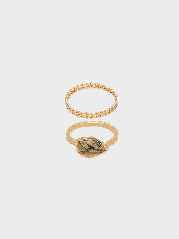 Semi-Precious Stone Chain Detail Ring Set, Sand, hi-res