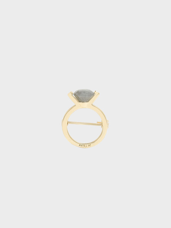 Labradorite Stone Ring Brooch, Gold, hi-res