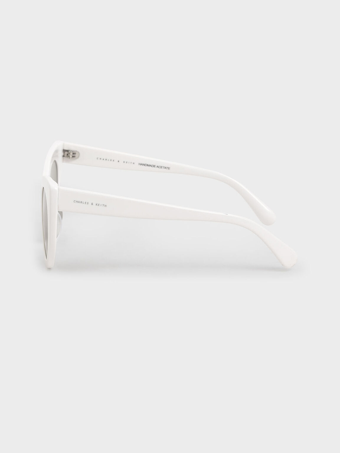 Thick Frame Cat-Eye Sunglasses, White, hi-res