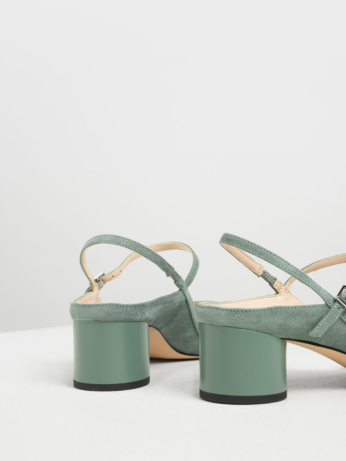 Circular Block Heel Slingbacks, Mint Green, hi-res