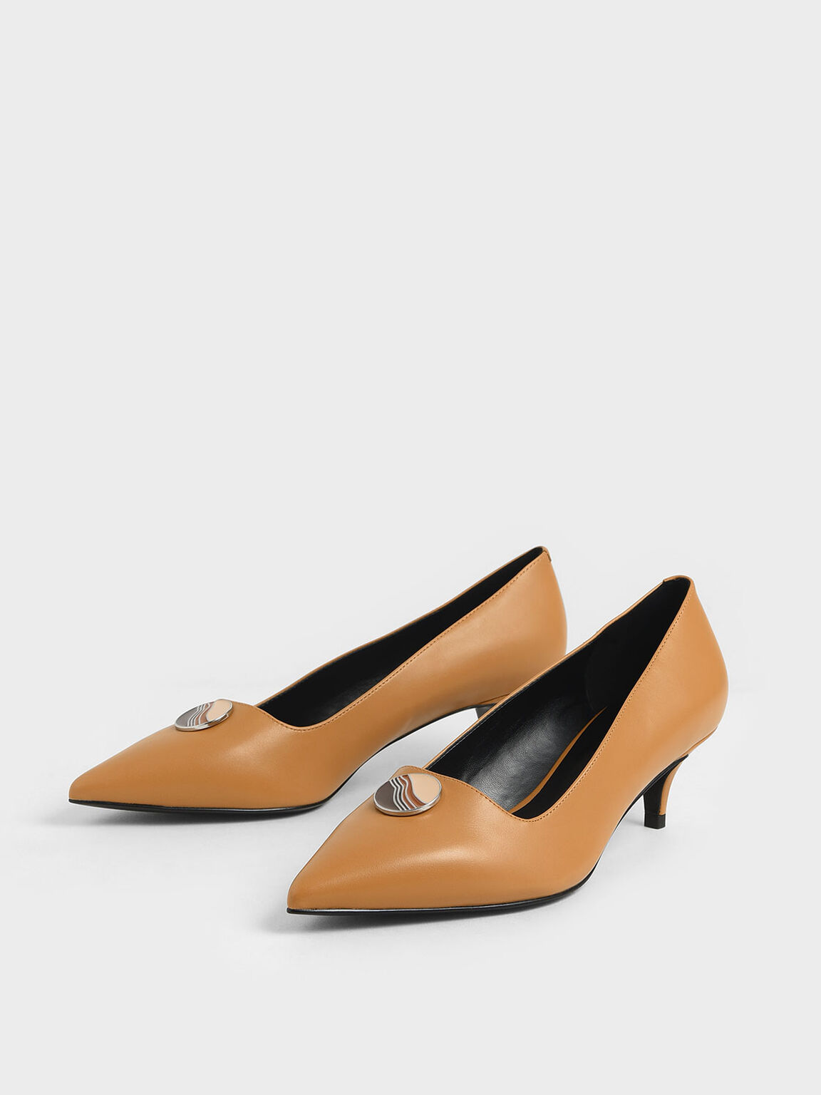 Striped Button Detail Kitten Heel Pumps, Caramel, hi-res