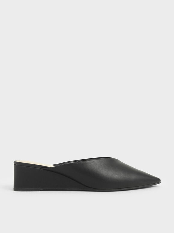 Textured Pointed Toe Wedge Heel Mules, Black, hi-res