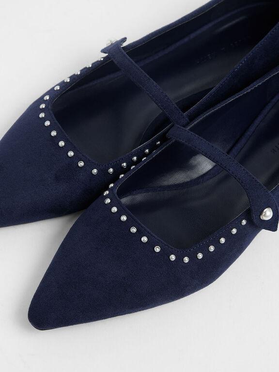 Embellished Trim Textured Mary Jane Ballerinas, Dark Blue, hi-res
