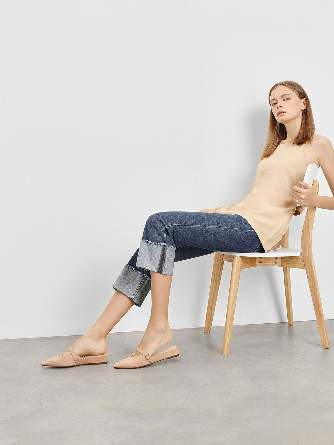 V-Cut Low Wedge Mules, Beige, hi-res