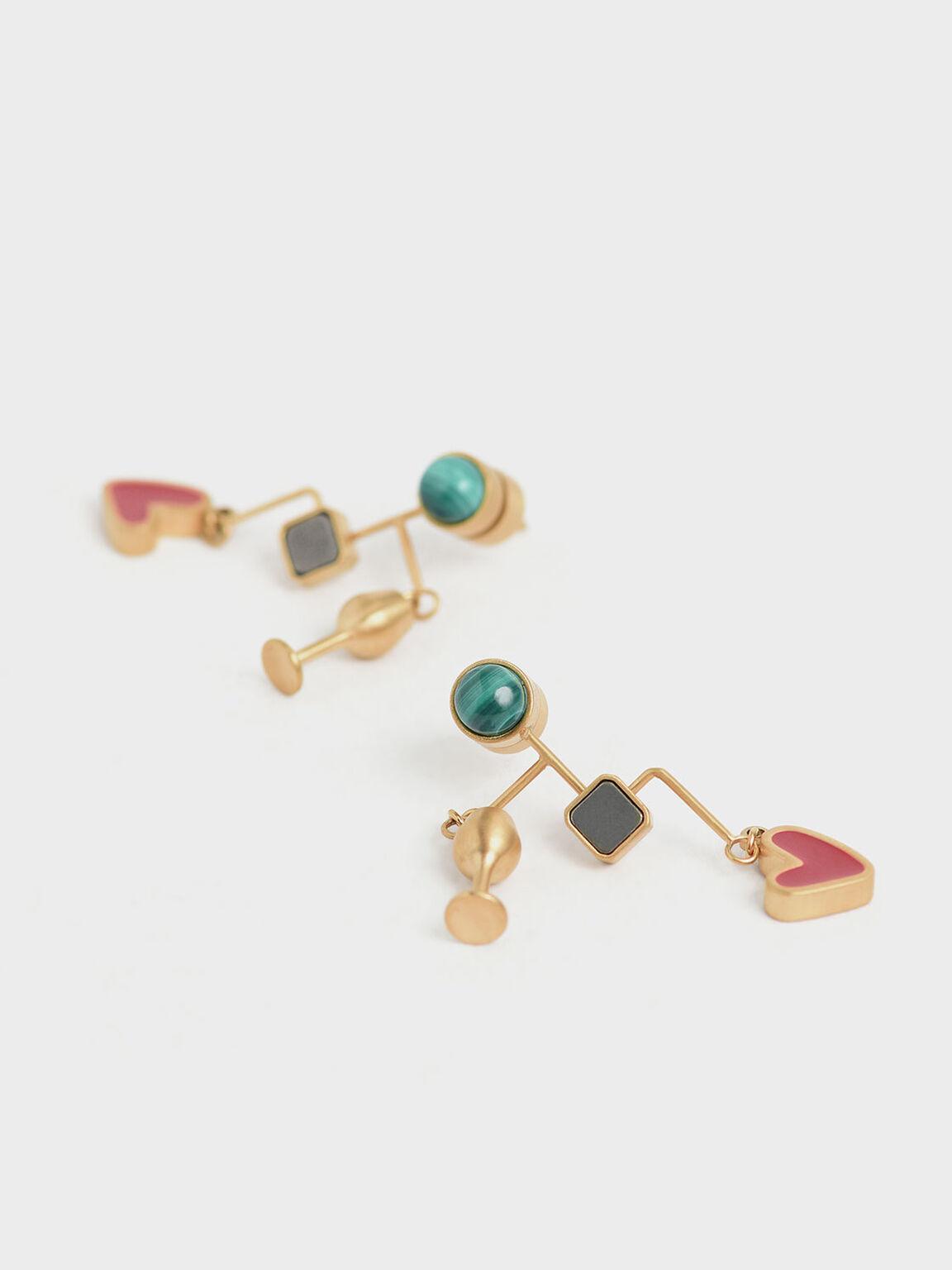 Malachite & Pyrite Gemstone Drop Earrings, Gold, hi-res