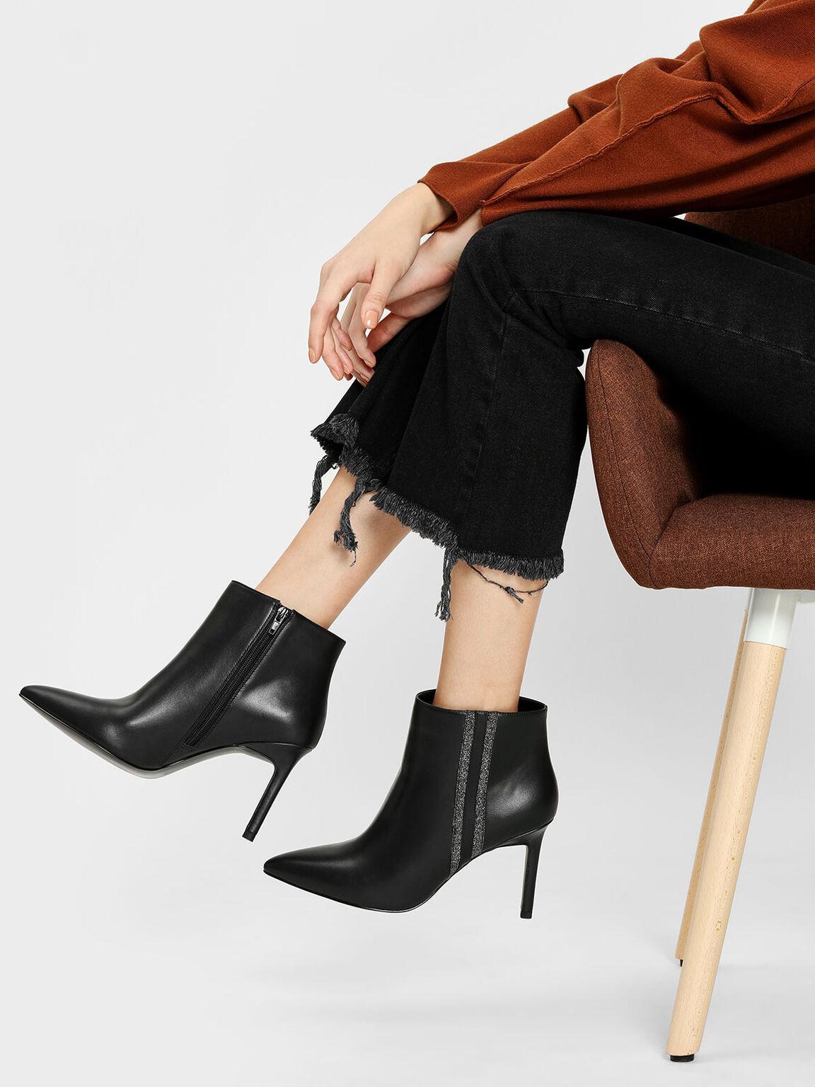 Glitter Striped Ankle Boots, Black, hi-res