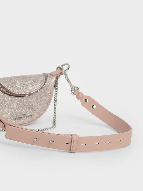 Girls' Glittered Chain-Embellished Crossbody Bag, Light Pink, hi-res