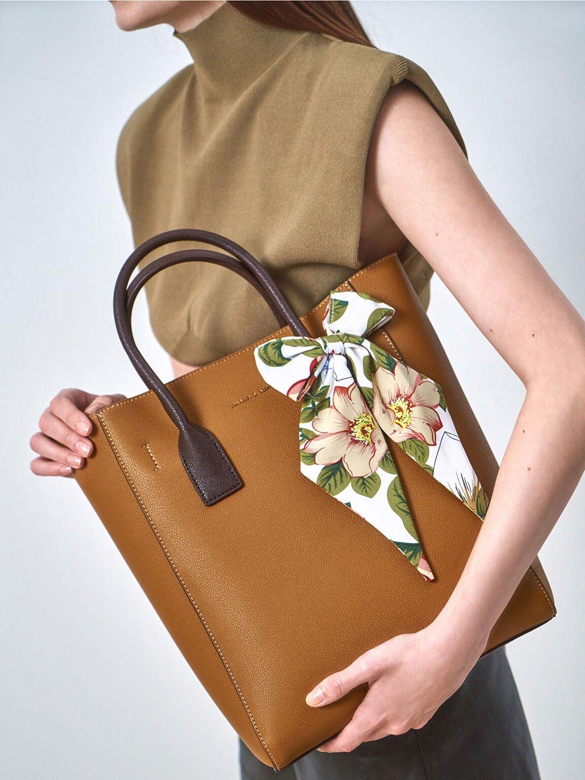 Chiffon Scarf Tote Bag, Camel, hi-res