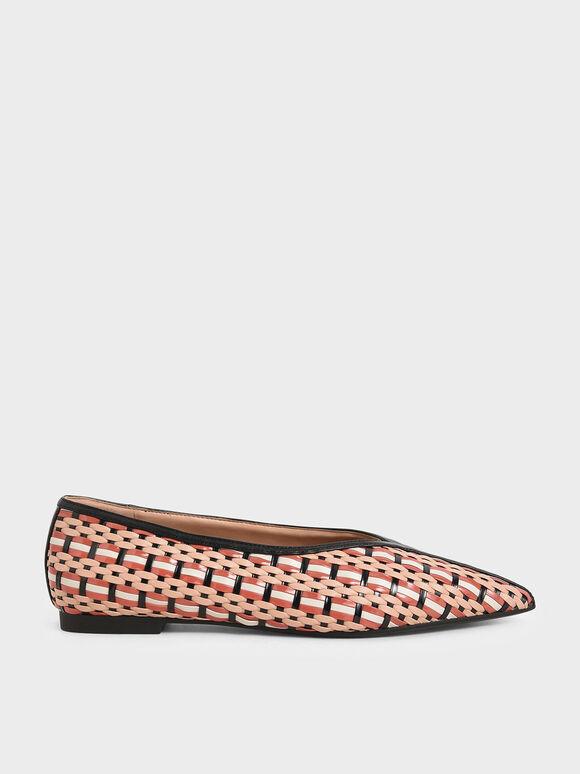 編織尖頭平底鞋, 混色, hi-res