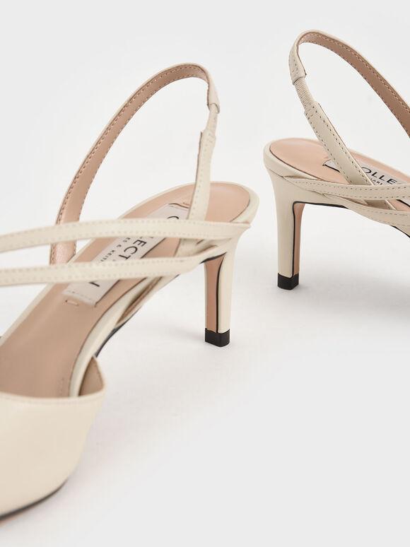 真皮纏繞帶細跟鞋, 石灰白, hi-res
