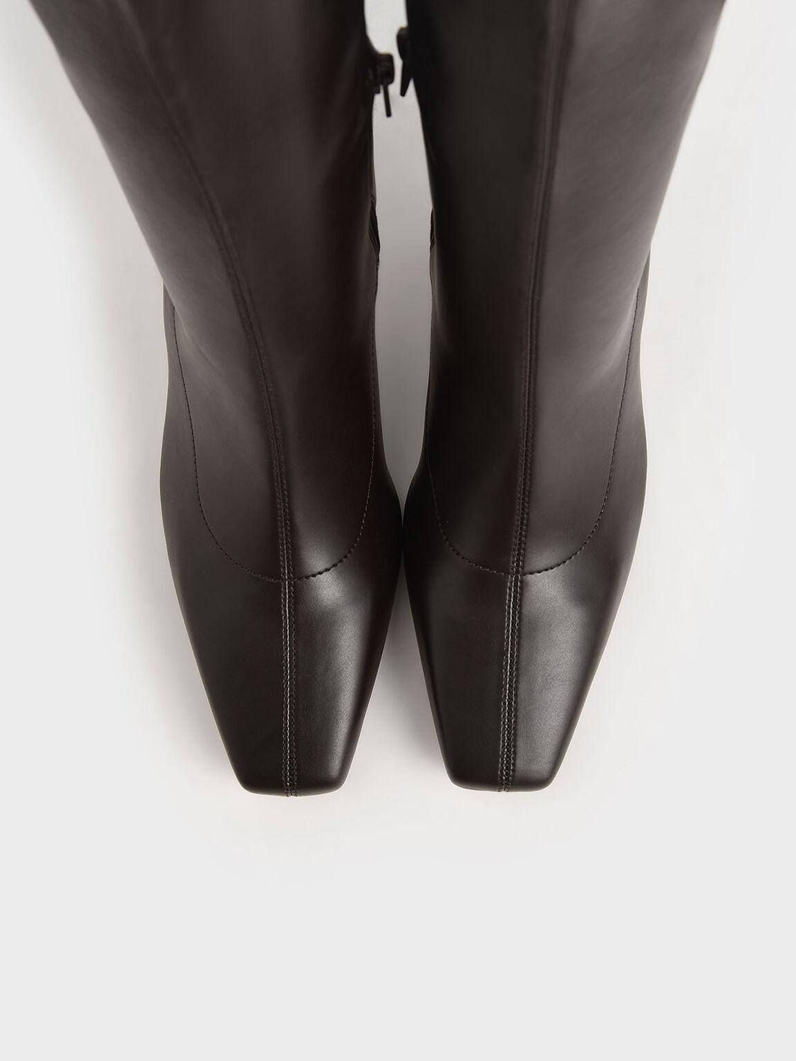 Spool Heel Calf Boots, Dark Brown, hi-res