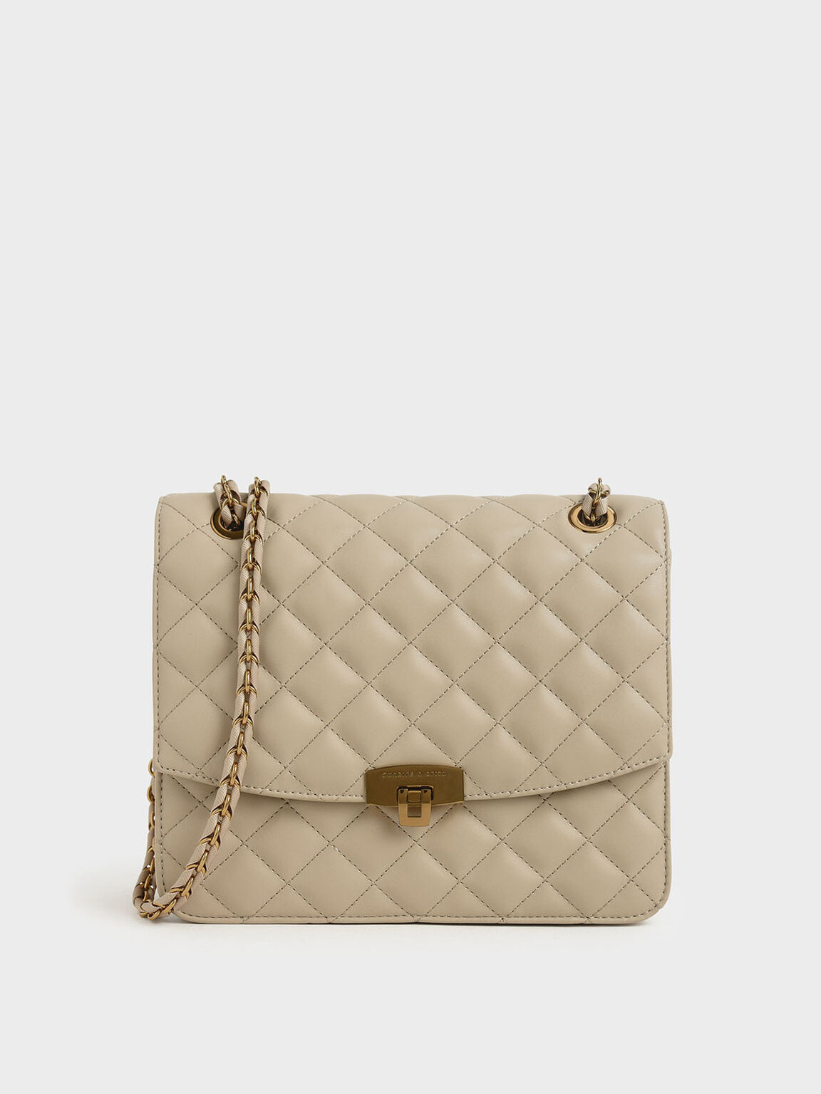 Quilted Push Lock Bag, Taupe, hi-res