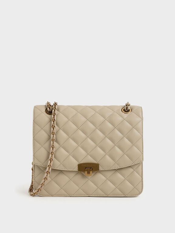 Quilted Push Lock Bag, Taupe