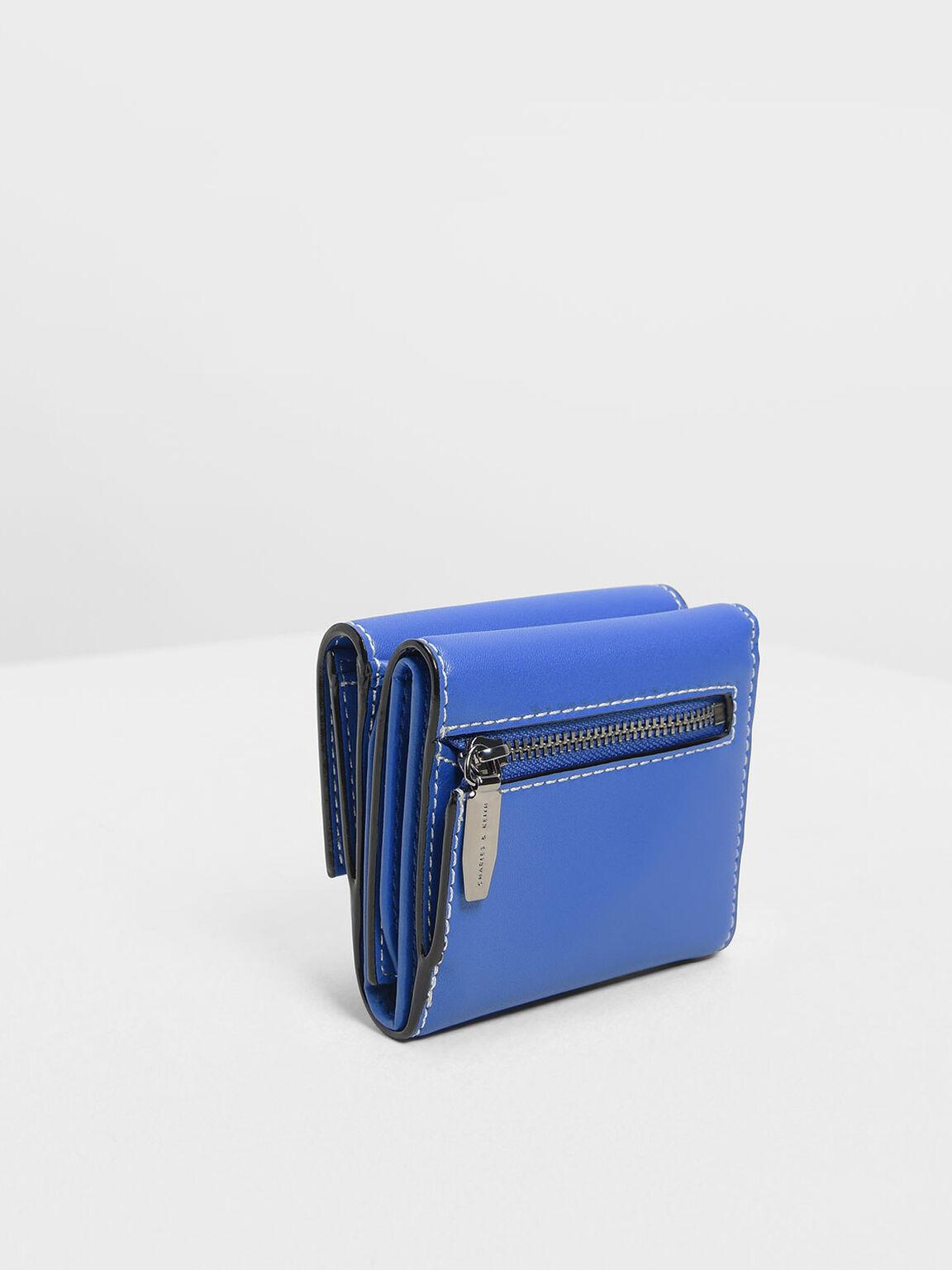 縫線滾邊掀蓋皮夾, 藍色, hi-res