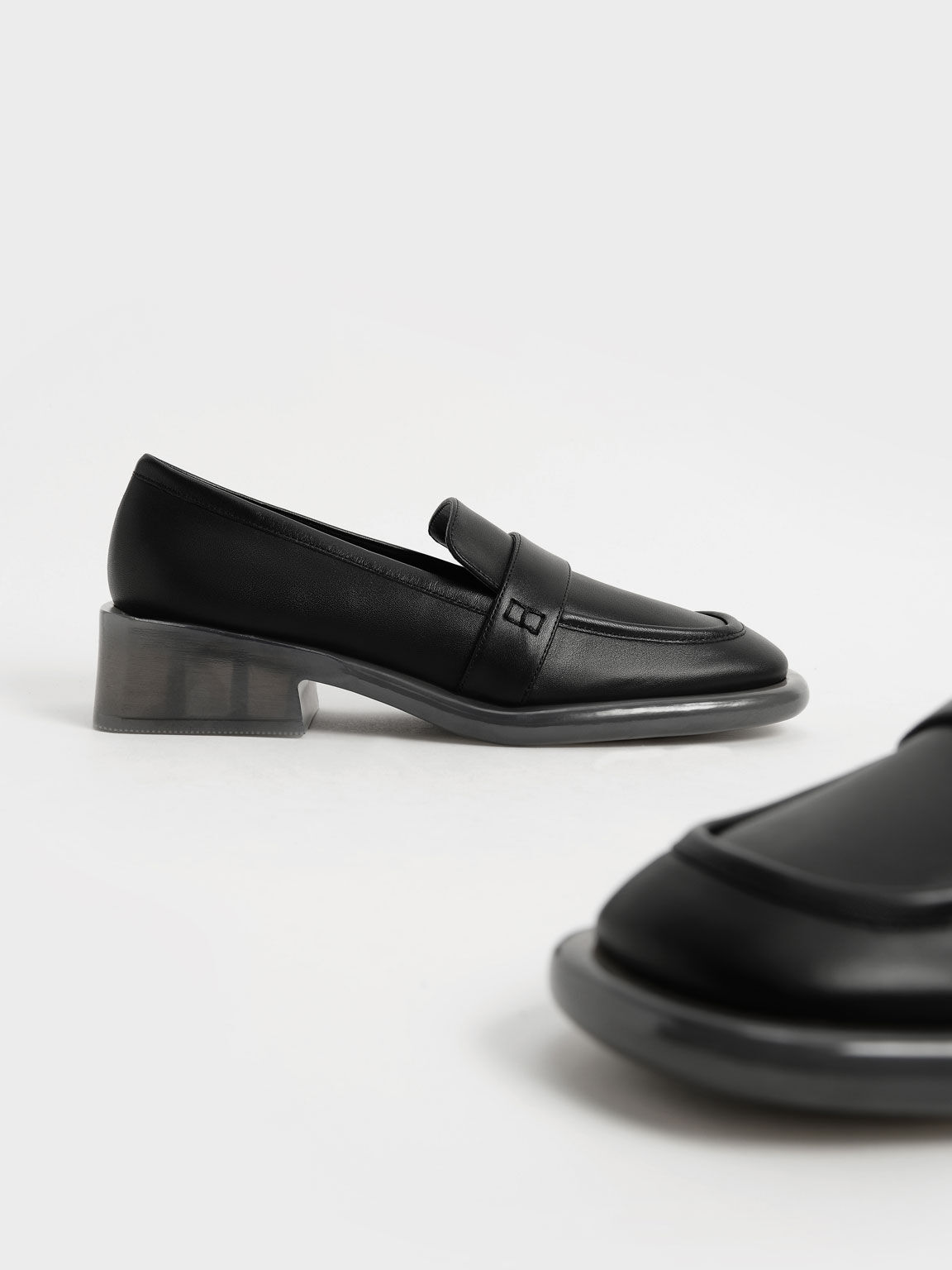 Leather Penny Loafers, Black, hi-res