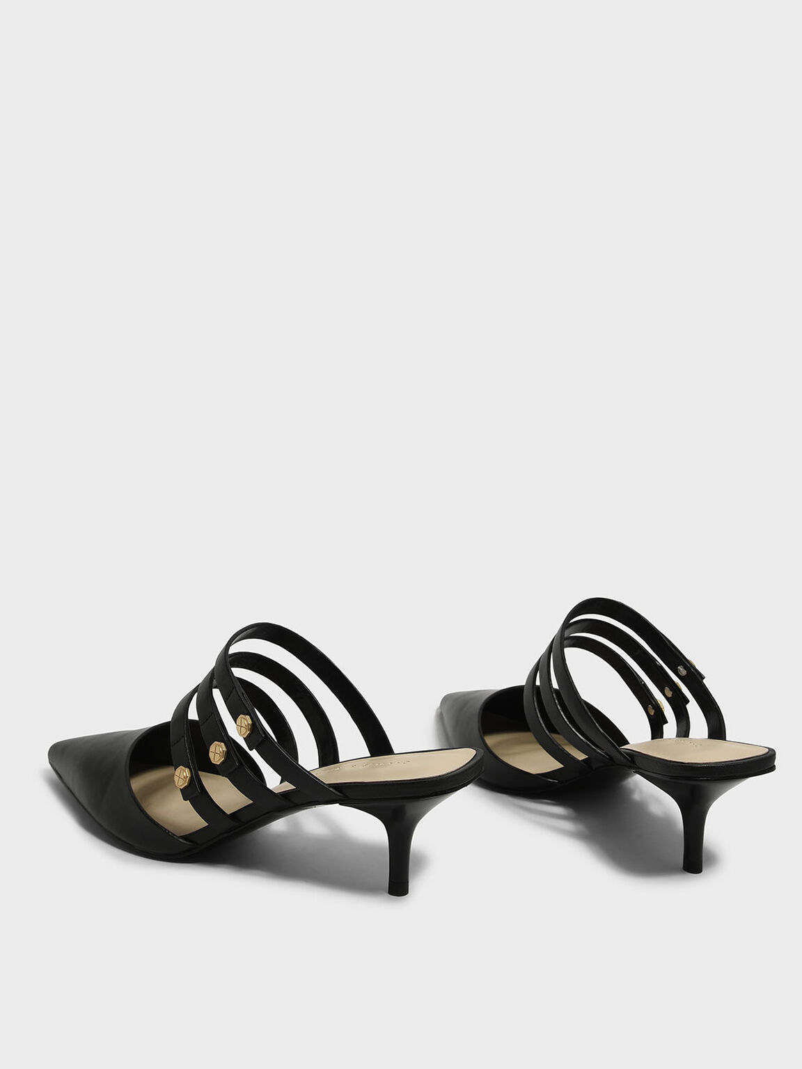 Strappy Square Back Mules, Black, hi-res
