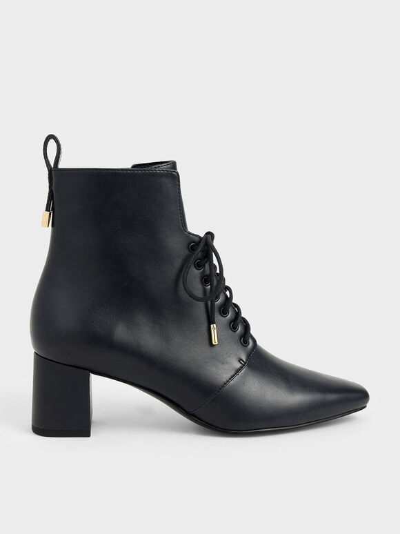 Lace-Up Heeled Ankle Boots, Dark Blue, hi-res