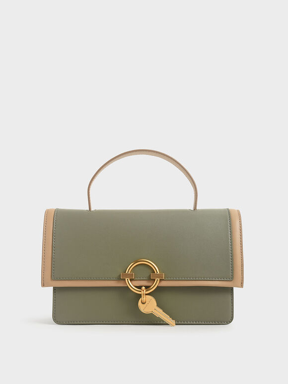 Metallic Accent Top Handle Bag, Sage Green, hi-res