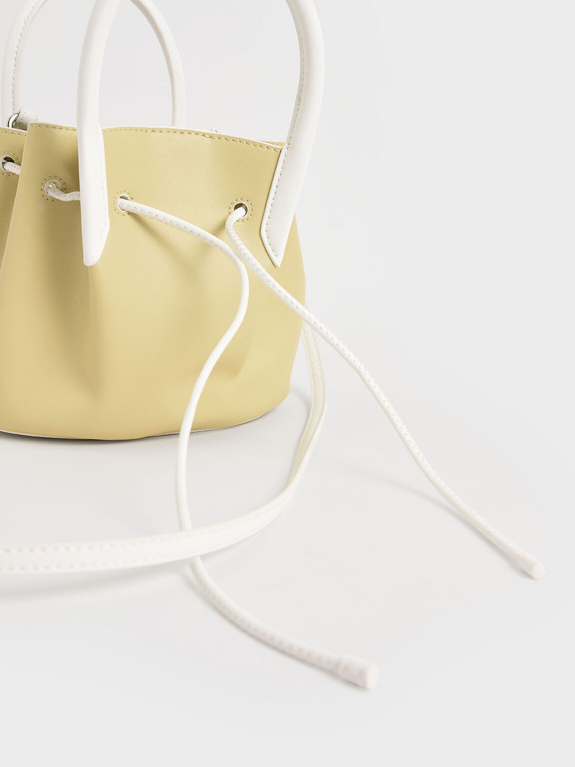 Two-Tone Drawstring Top Handle Bag, Yellow, hi-res