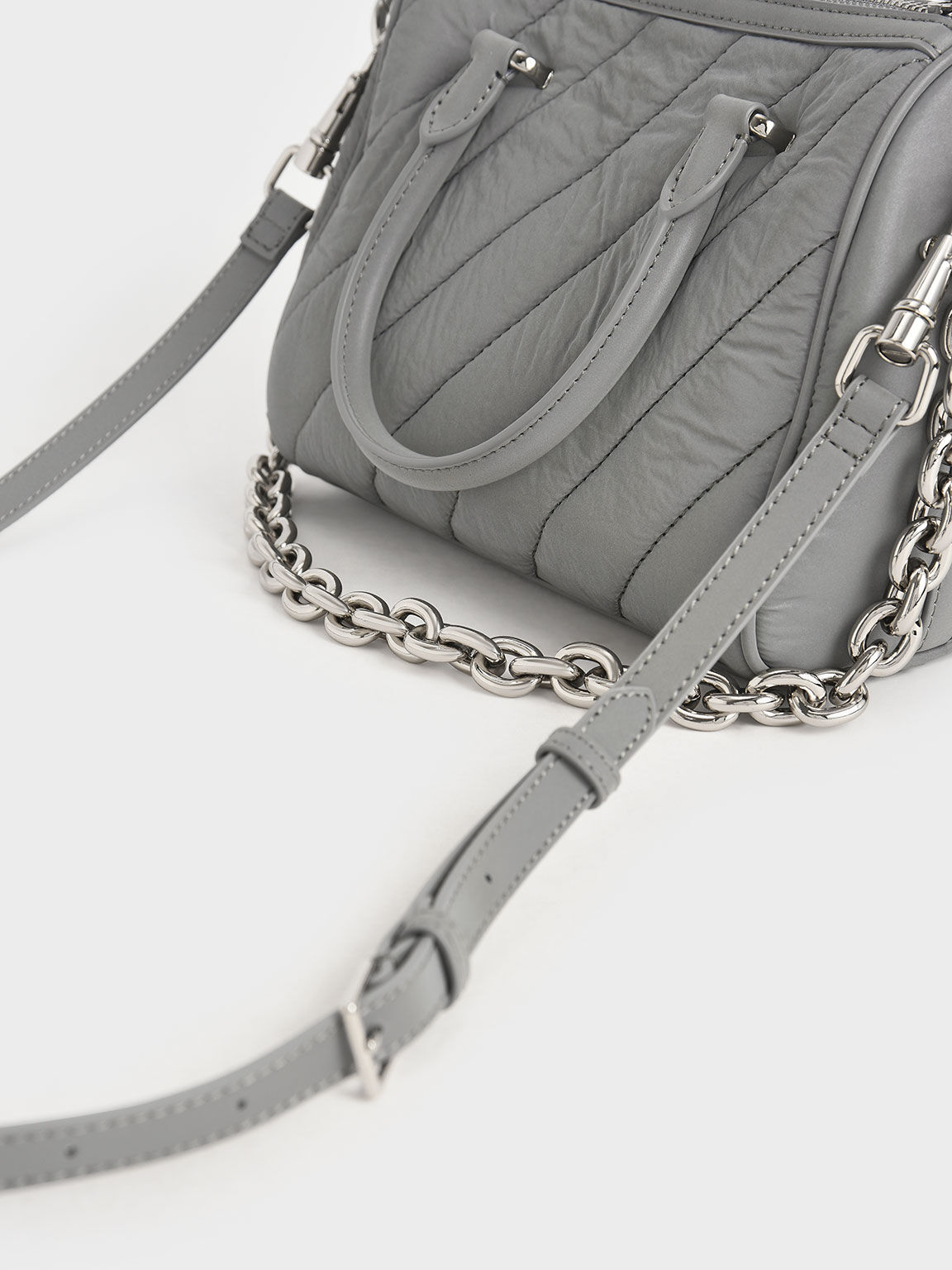 Nylon Panelled Tote Bag, Grey, hi-res