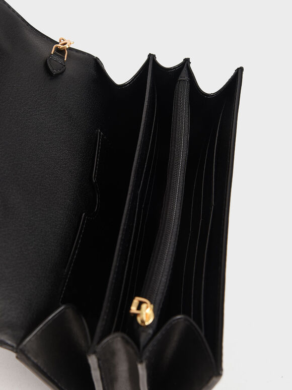 扭結釦長夾, 黑色, hi-res