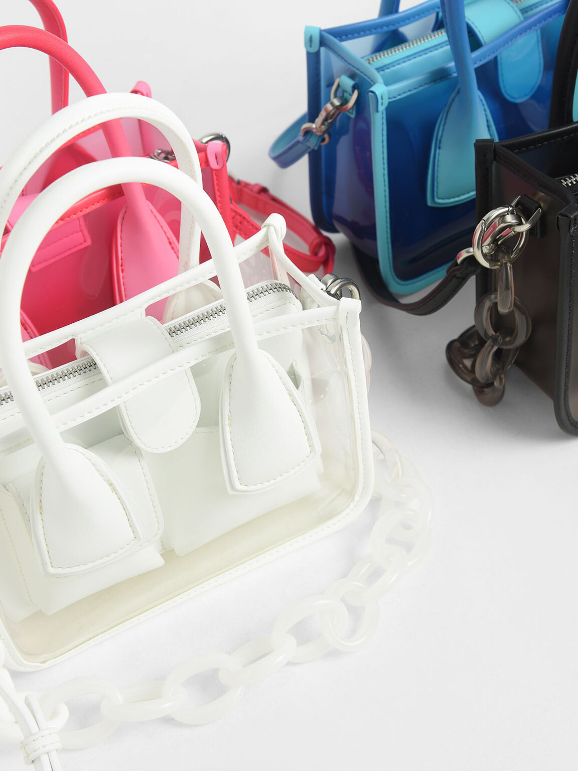 See-Through Effect Handbag, Blue, hi-res