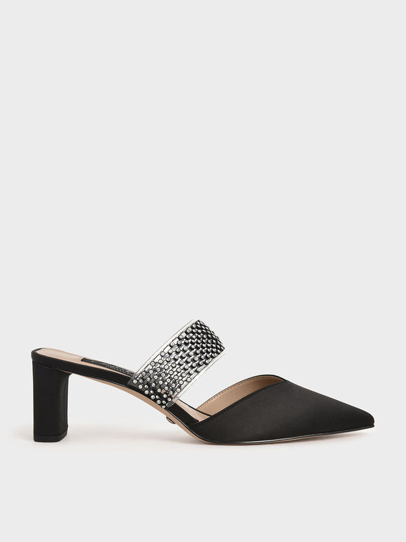 Satin Embellished-Strap Mules, Black, hi-res