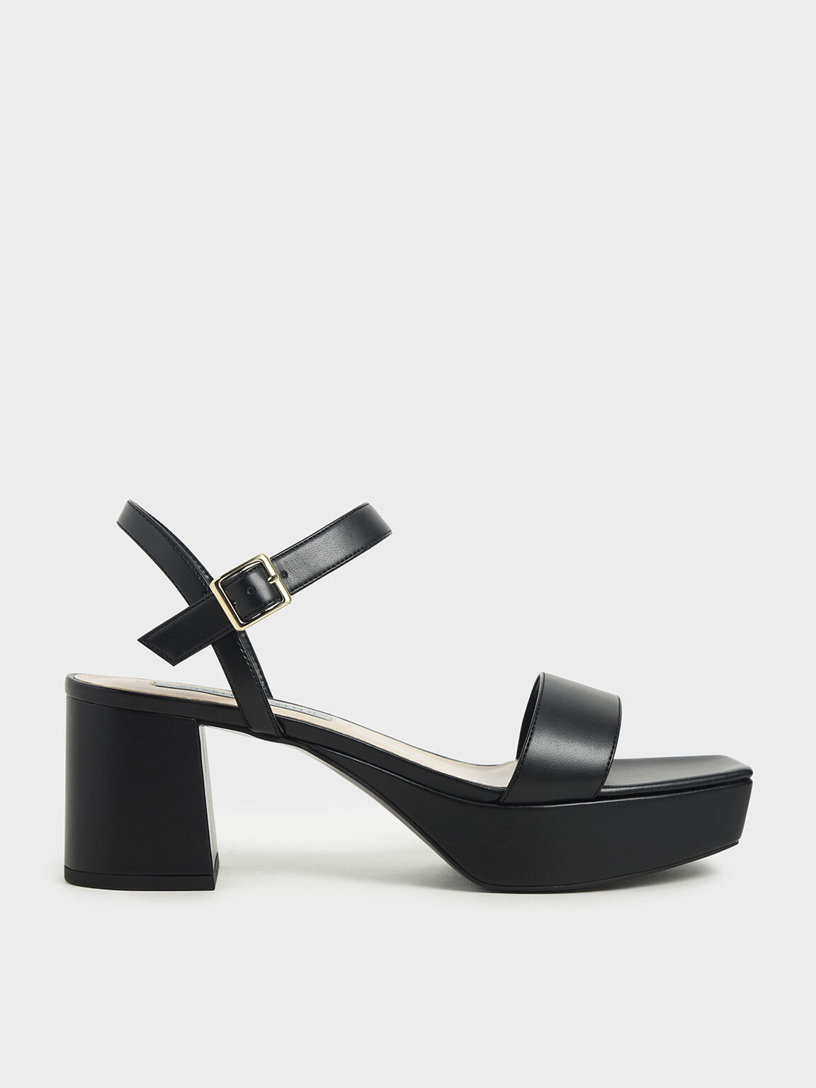 Ankle Strap Platform Sandals, Black, hi-res