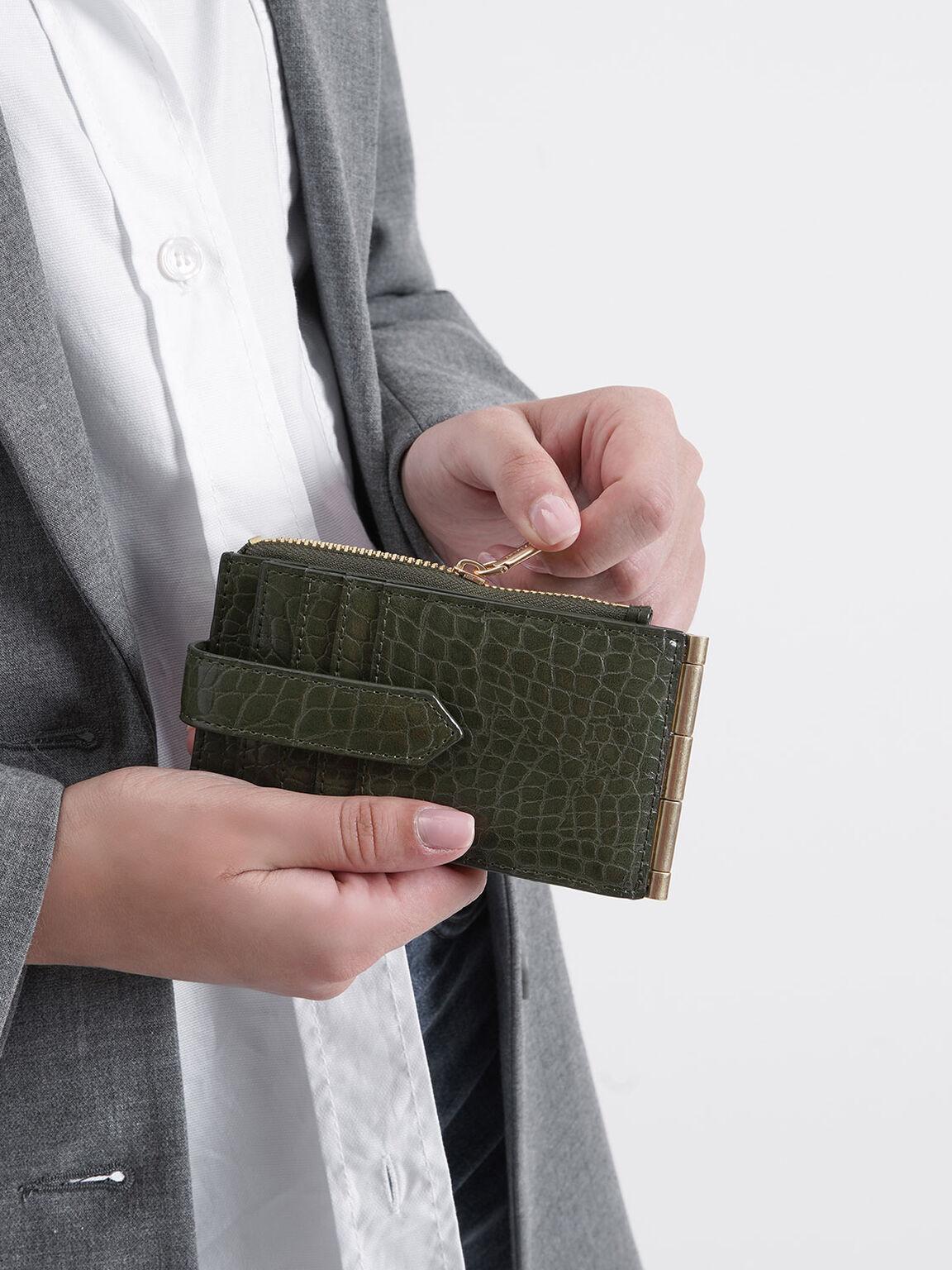 크로커-이펙트 틴 프론트 플랩 카드 홀더, 올리브, hi-res