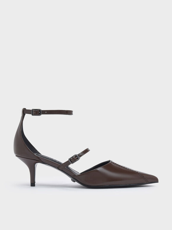 Zigzag Detail Leather Mary Jane Kitten Heels, Dark Brown, hi-res