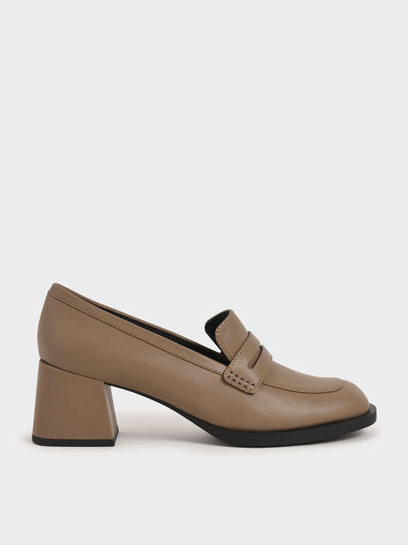 Penny Loafer Pumps, Brown, hi-res