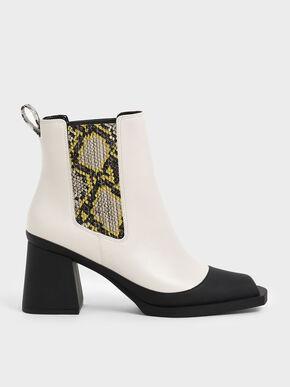 Snake Print Chelsea Boots, Cream