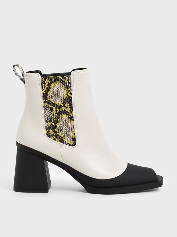 Snake Print Chelsea Boots, Cream, hi-res
