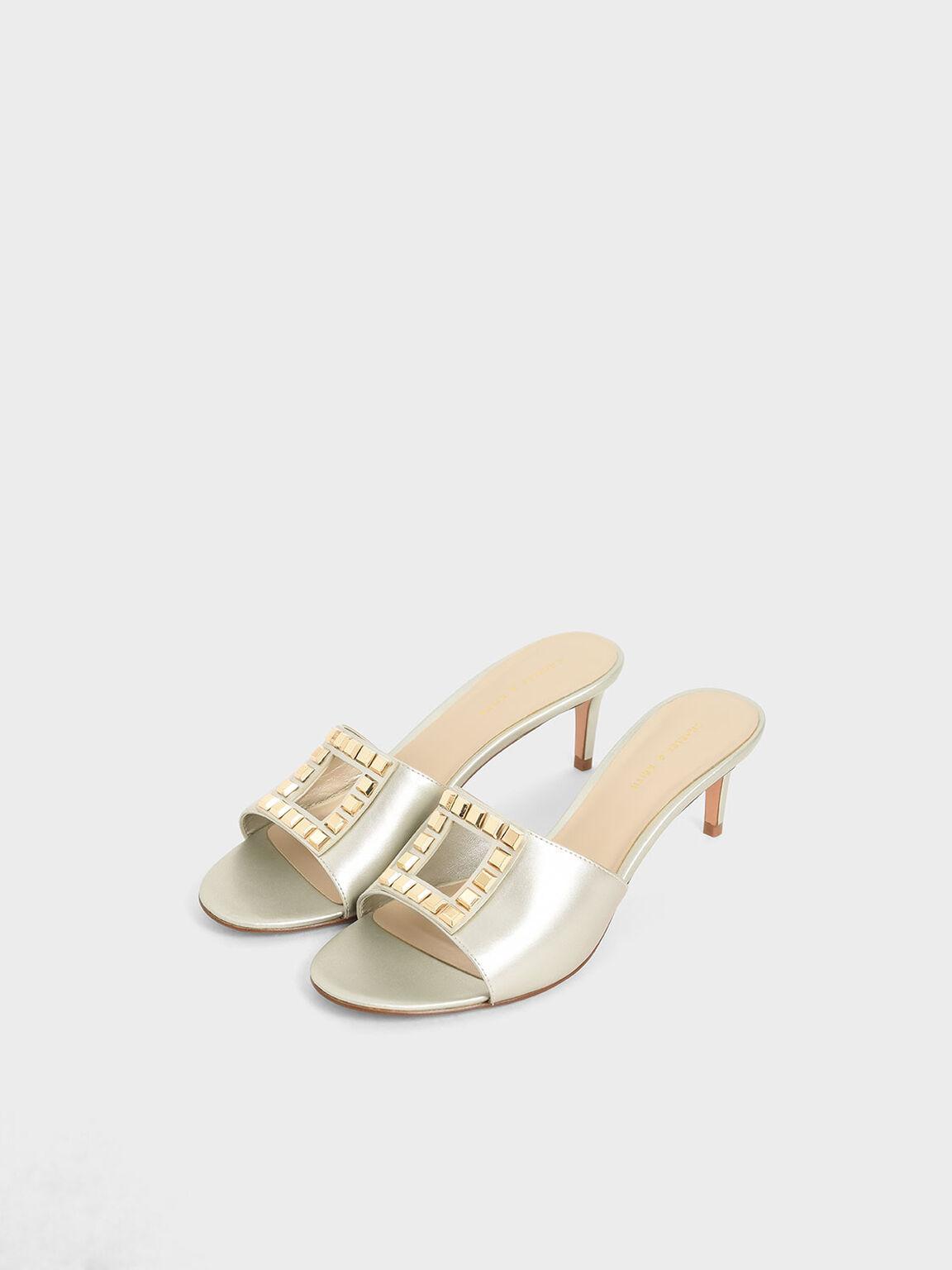Metallic Embellished Mules, Gold, hi-res