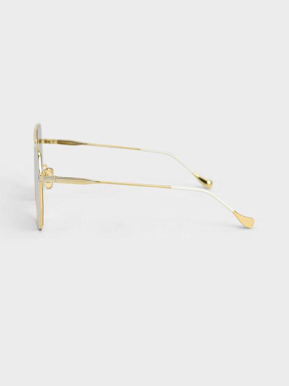 幾何細框墨鏡, 奶油色, hi-res