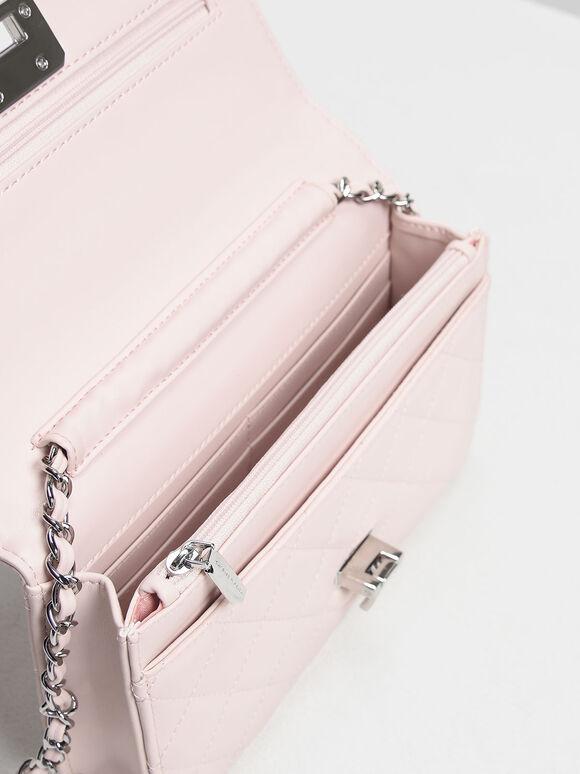 Quilted Flip-lock Clutch, Pink, hi-res