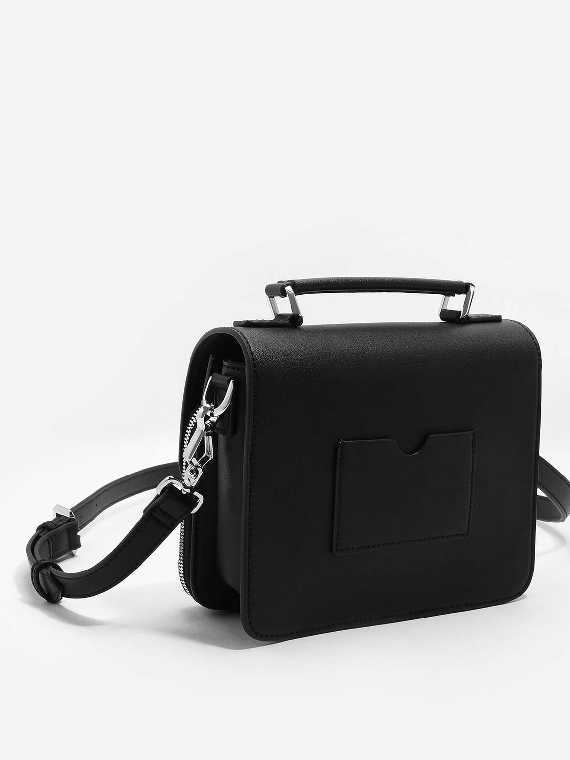 Basic Front Flap Crossbody Bag, Black, hi-res