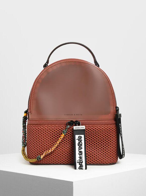 Mesh Detail Backpack, Clay, hi-res