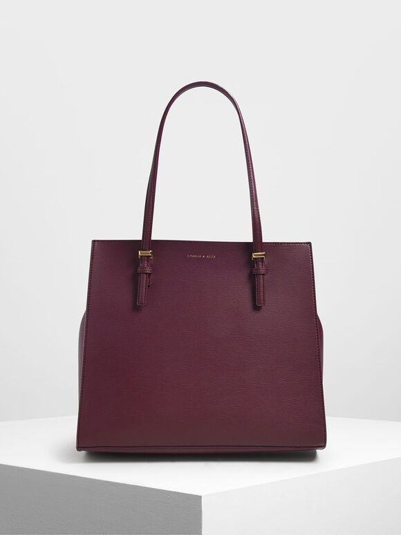 Double Handle Tote Bag, Prune, hi-res